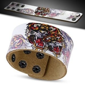 Leather Snap Bracelet w/ Fashion Tiger Chinese